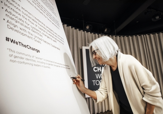 Eileen Fisher signing the We The Change declaration